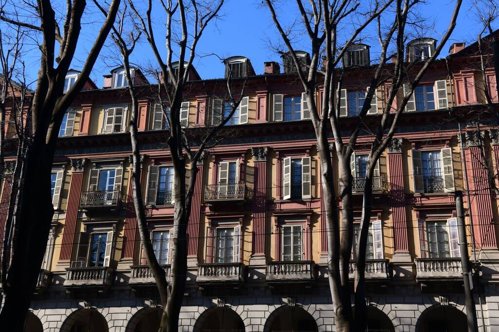 Turin, Italy: Residential houses in wintertime