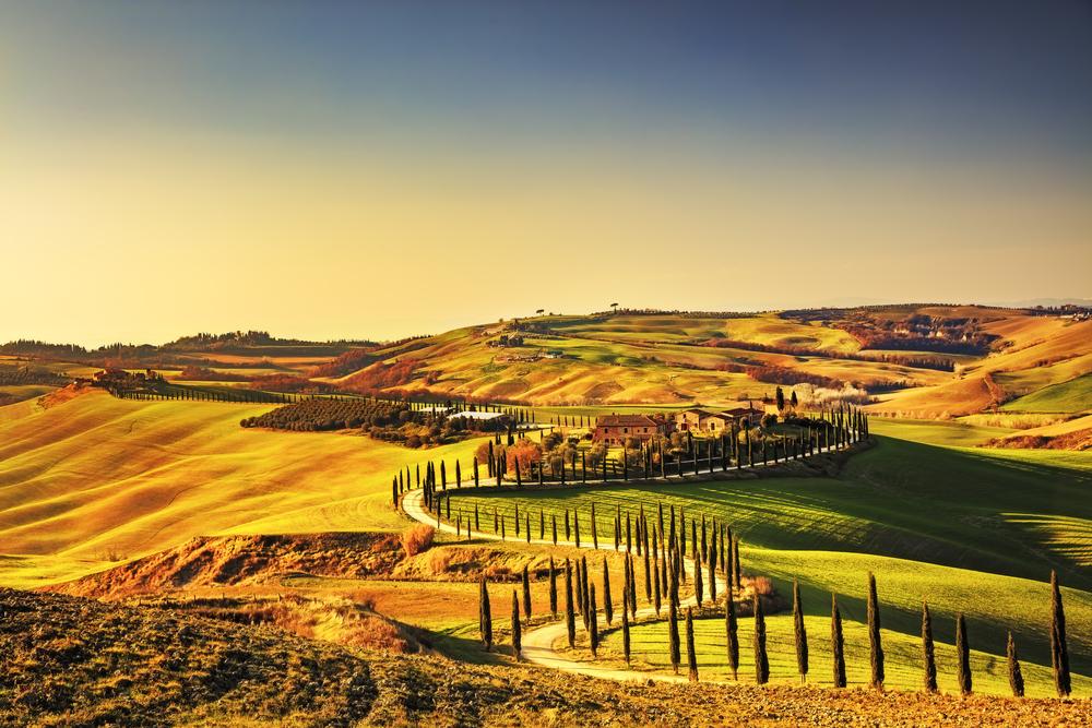 Tuscany,,Crete,Senesi,Rural,Sunset,Landscape.,Countryside,Farm,,Cypresses,Trees,